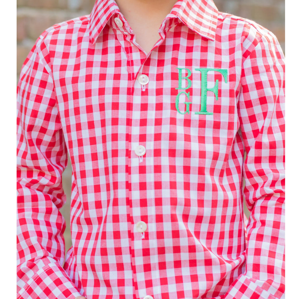 Red Gingham Button Up Shirt