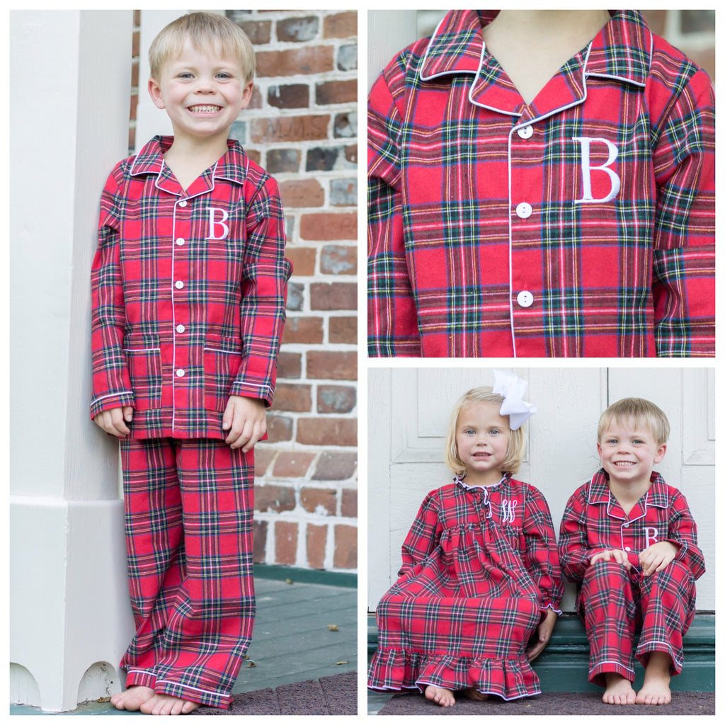 Red Plaid Flannel Christmas Monogrammed Pajamas