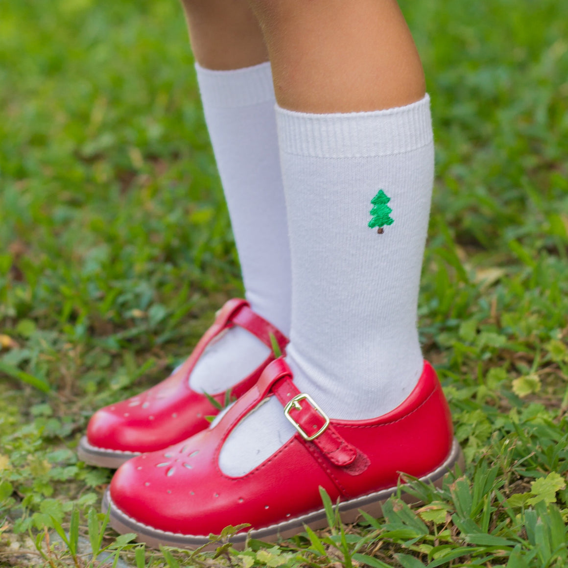 Classic White Knee Socks with Christmas Tree Embroidery