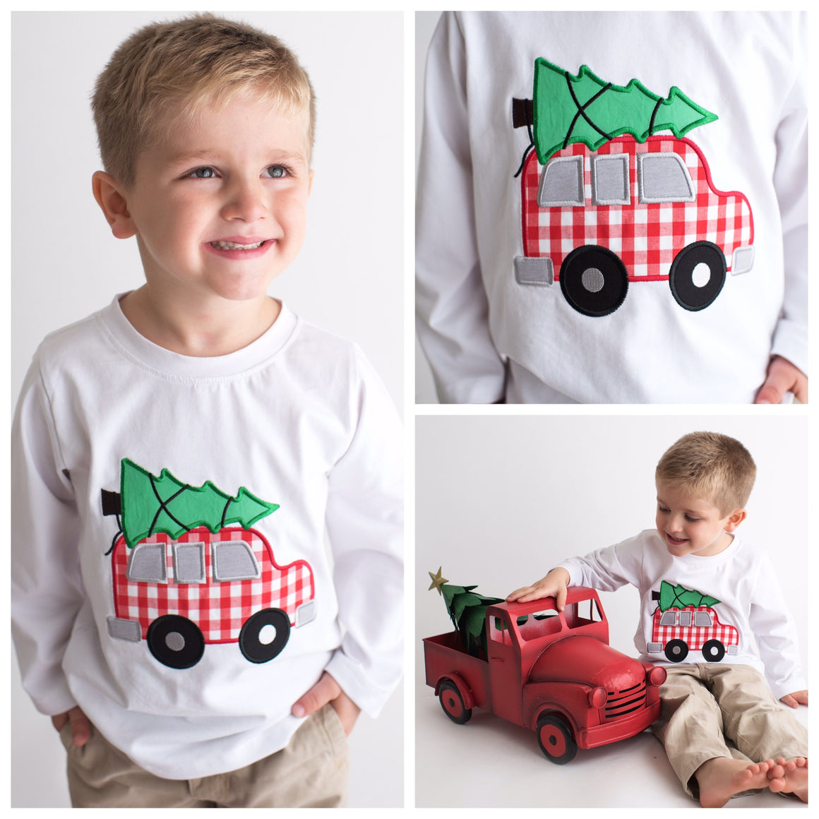 Boys White Long Sleeve Christmas Shirt with Red Gingham Car and Christmas Tree Applique