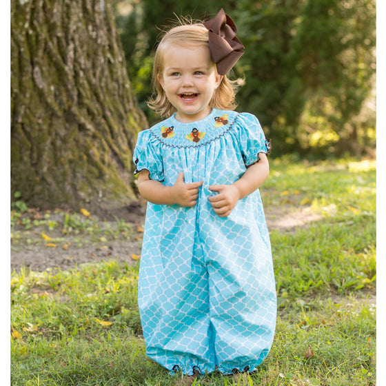 Girls Smocked Turkey Thanksgiving Bubble Outfit