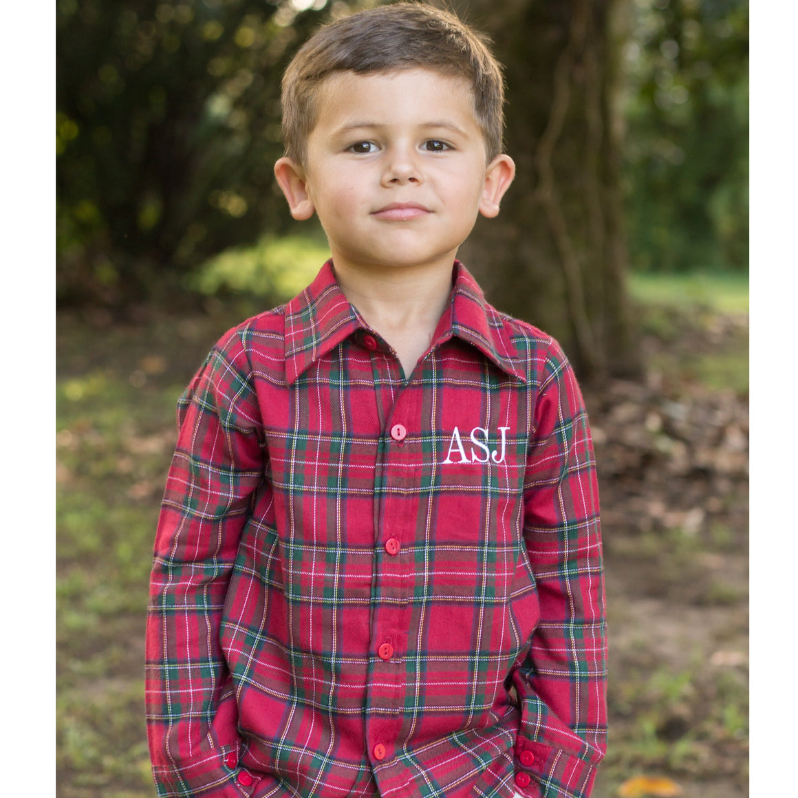 Boys Red and Green Christmas Plaid Flannel Monogrammed Button Front Shirt