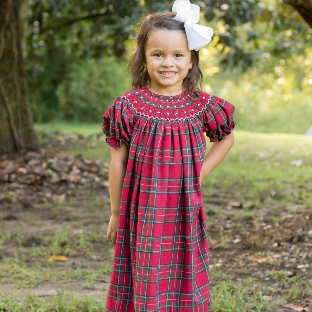 Red and Green Christmas Plaid Flannel Smocked Bishop Dress