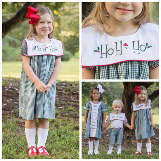 Hunter Green Gingham Christmas Float Dress with Santa Ho Ho Ho Embroidery Sailor Collar
