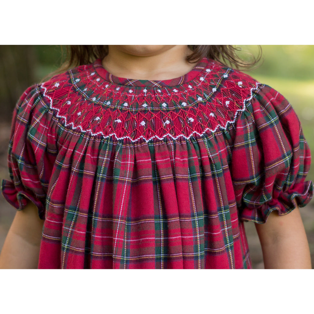 Holiday Plaid Smocked Bishop