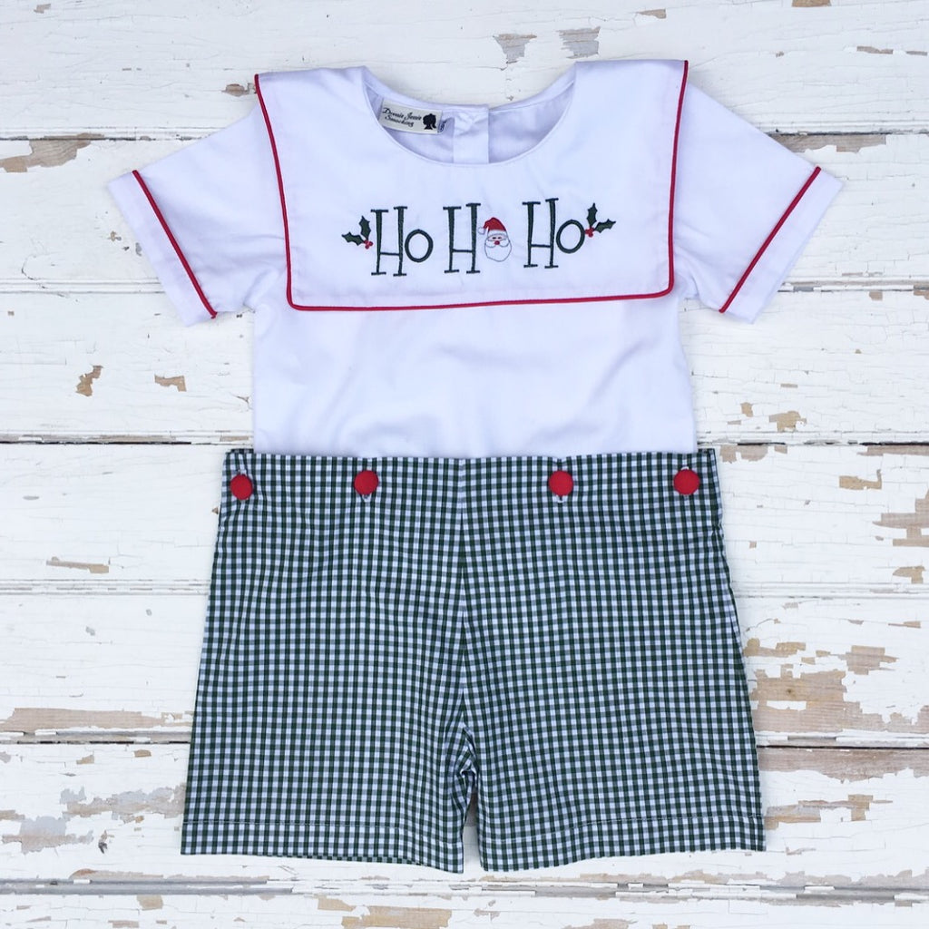Boys Christmas Hunter Green Gingham Button-On Short Set with Santa Ho Ho Ho Embroidery Sailor Collar