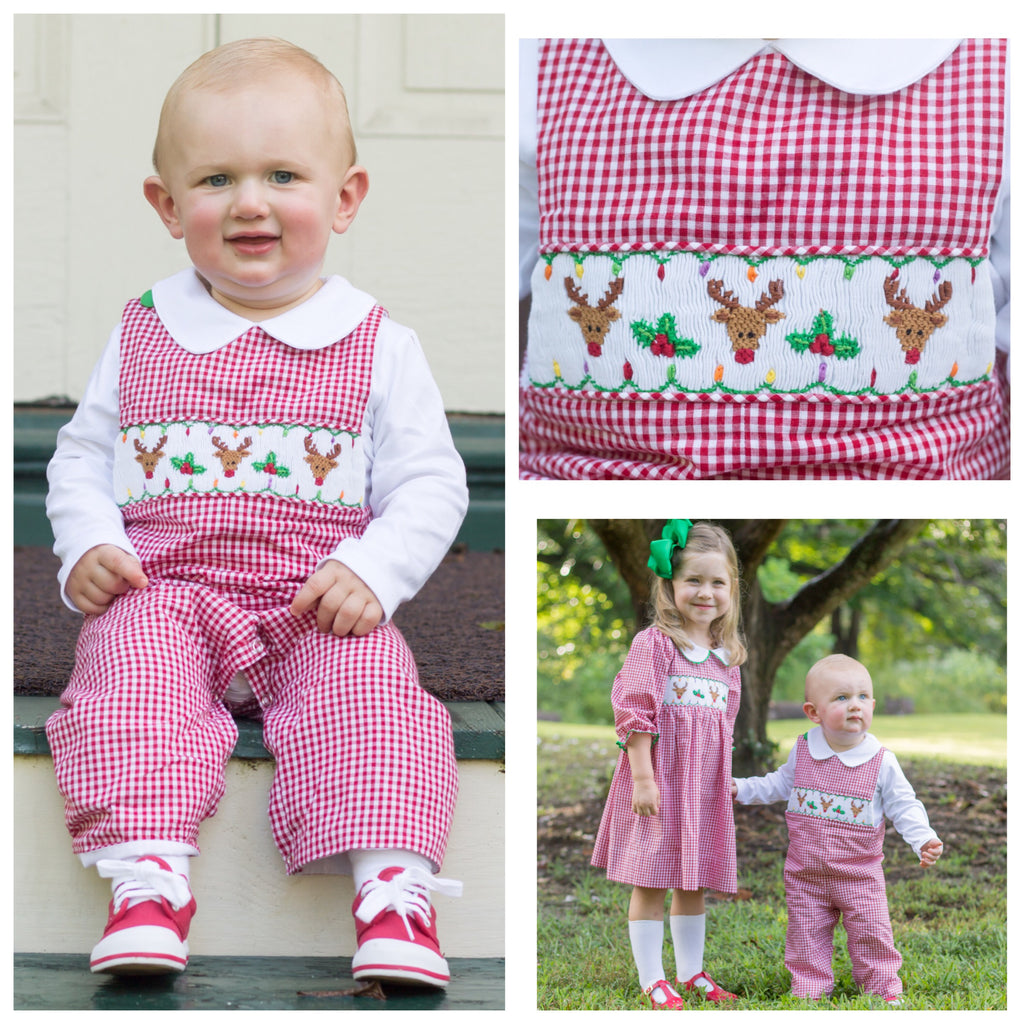 Red Gingham Smocked Reindeer Christmas Longall