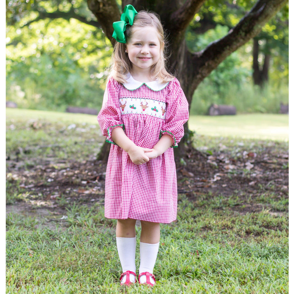 Red Gingham Smocked Reindeer Christmas Dress