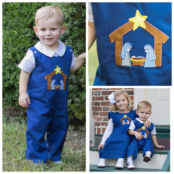 Infant Toddler Boy Navy Blue Nativity Applique Christmas Longall Outfit