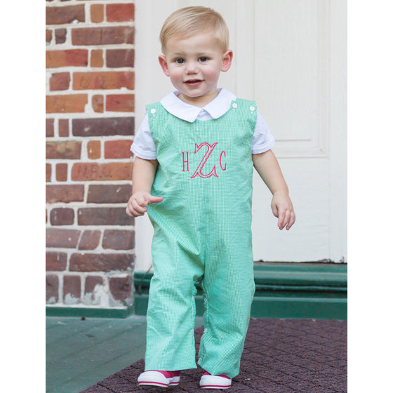 Green Gingham Longall Free Monogram Christmas Boy Outfit