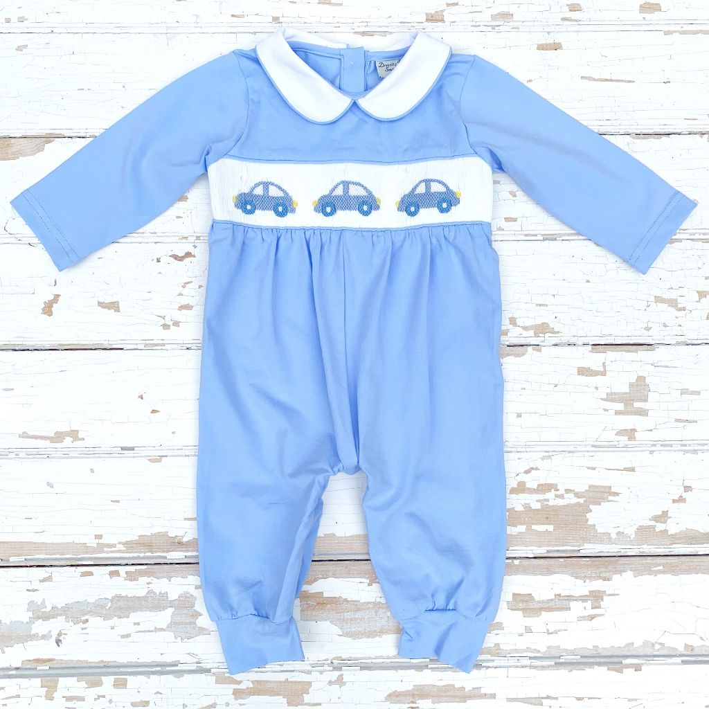 Newborn Infant Baby Boy Blue Knit Smocked Romper with Cars