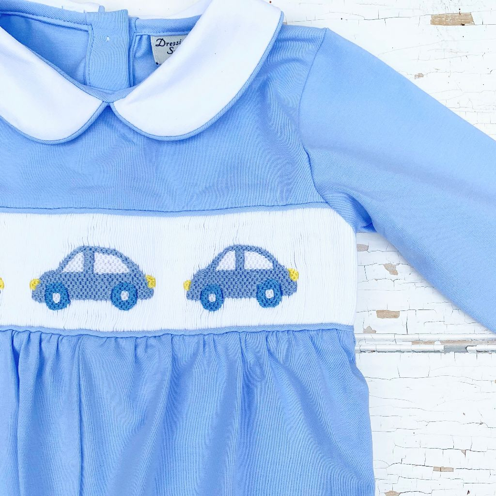 Baby Boy Smocked Cars Romper Outfit