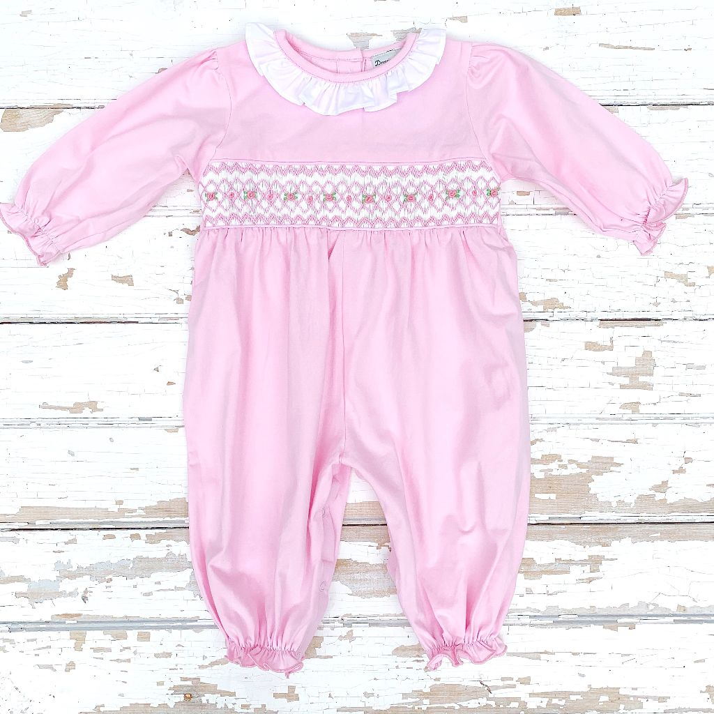 Newborn Infant Baby Girl Smocked Pink Coming Home Outfit