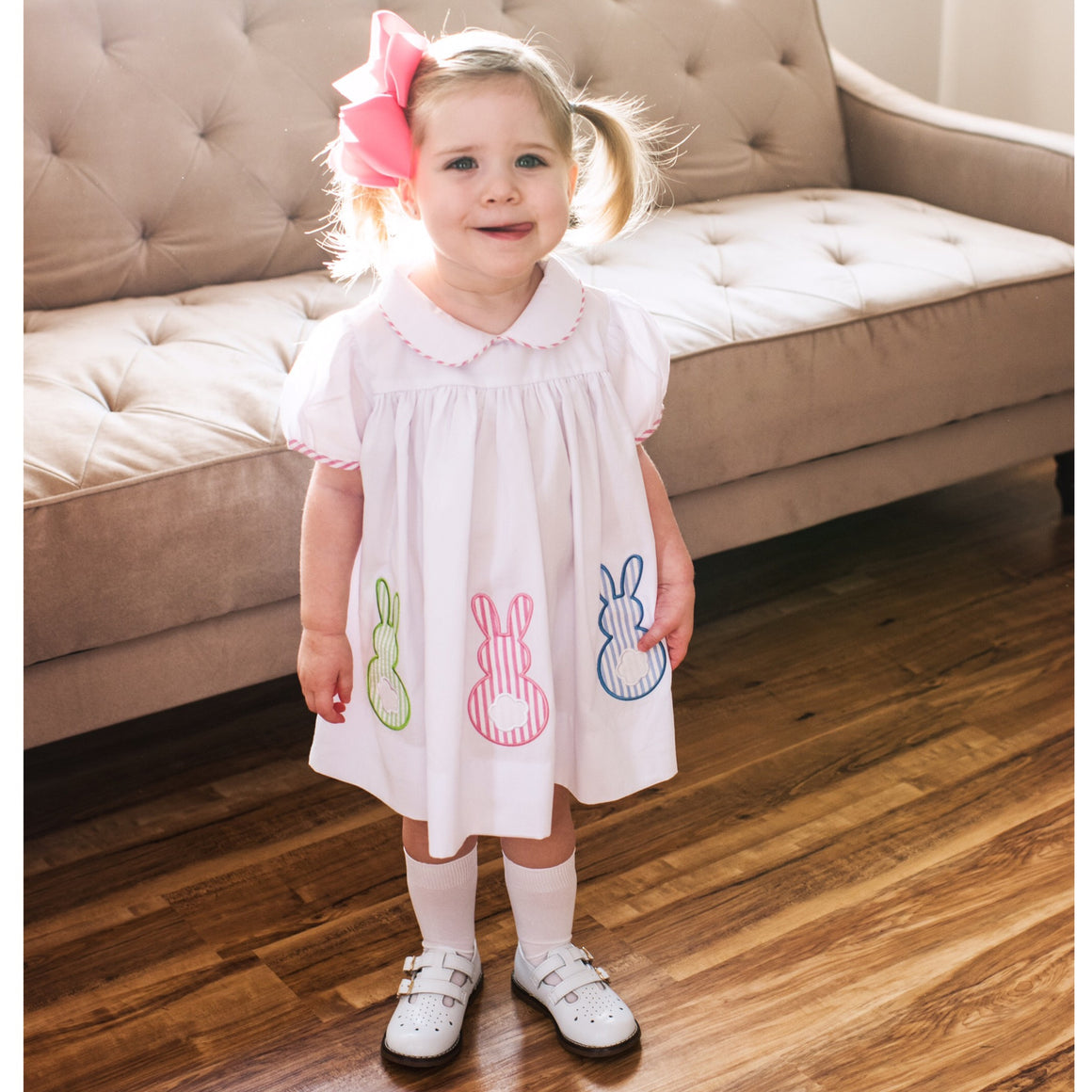 Baby Toddler Girl Easter Dress Seersucker Bunny Appliques