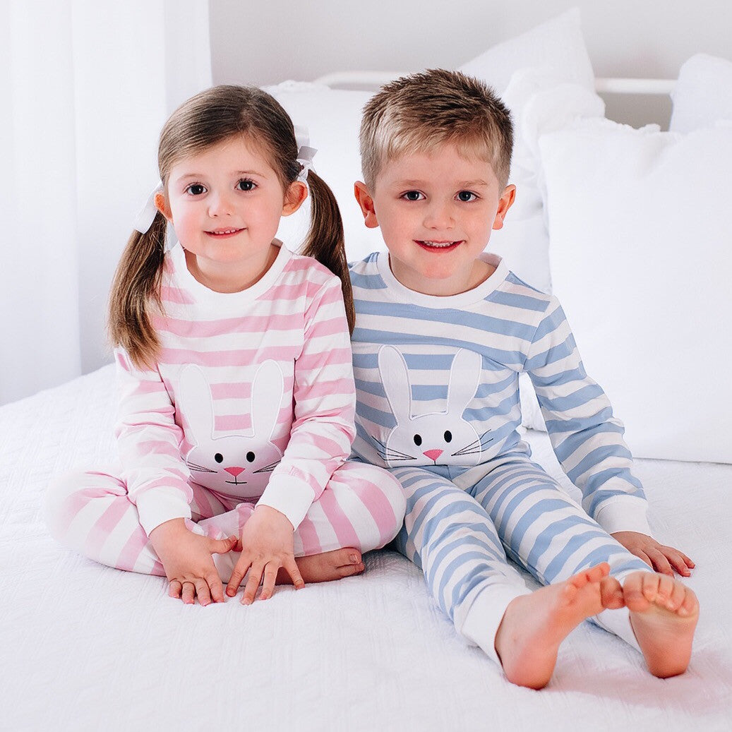 Bunny Appliqué BLUE Stripe Loungewear