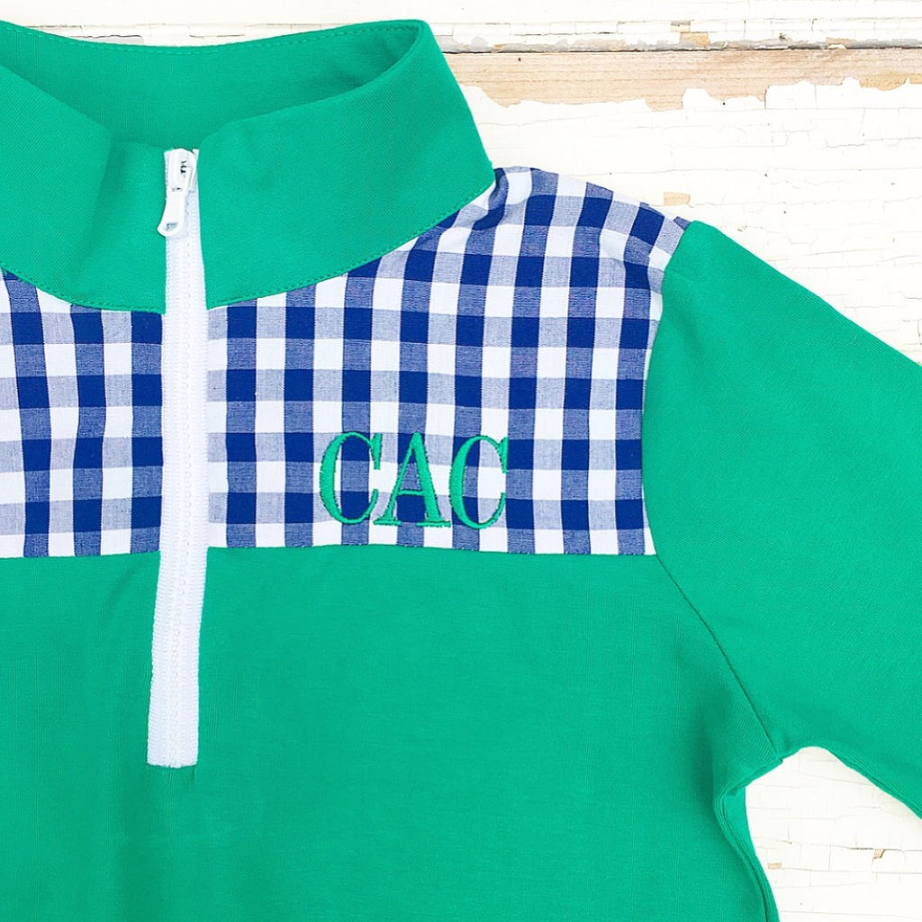 Green and Navy Gingham Knit Pullover Sweatshirt Monogrammed