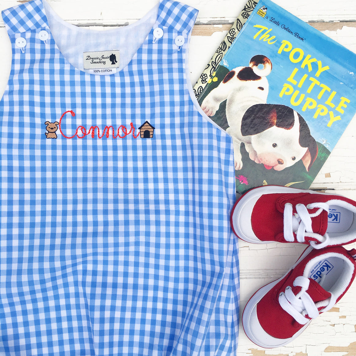 Baby Toddler Boy Blue Gingham Bubble Little Puppy Dog Embroidery