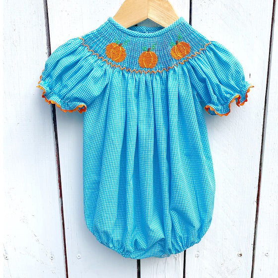 Girls Smocked Pumpkin Bubble Turquoise Gingham