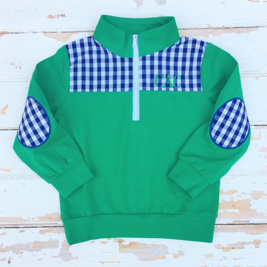 Boys Preppy Knit Pullover Jacket Elbow Patches Free Monogram
