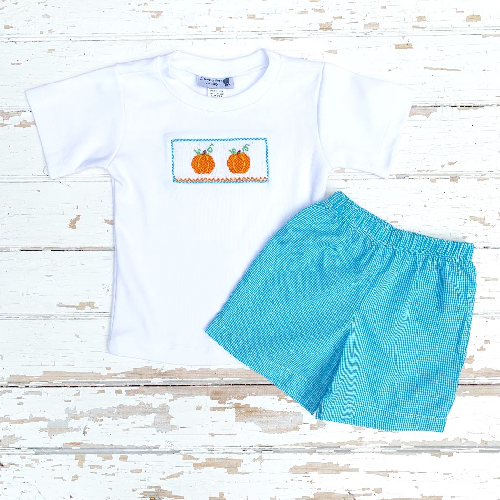 Boys Smocked Pumpkin Shirt and Shorts Set