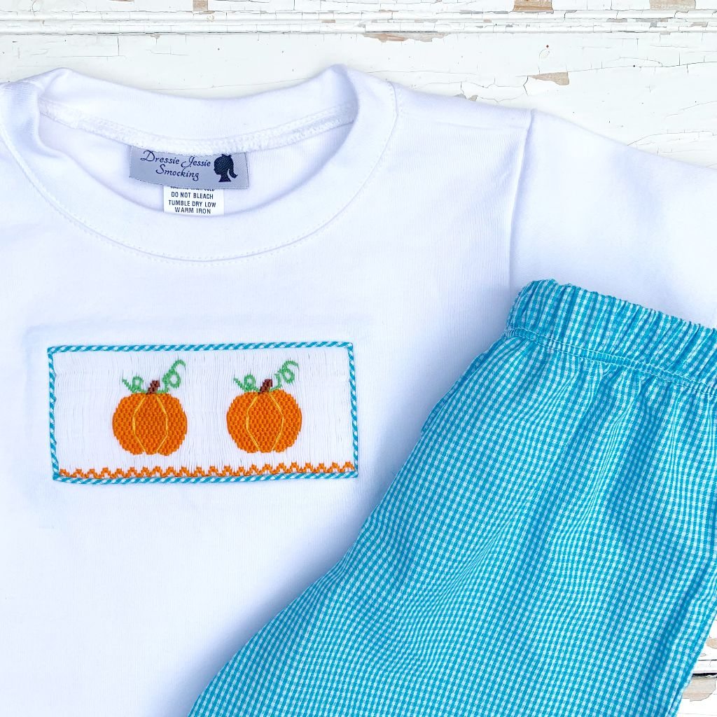 Boys Hand Smocked Pumpkin Shirt and Shorts Set