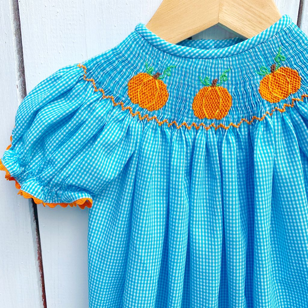 Hand Smocked Pumpkin Bubble