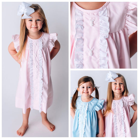 Pink Easter Dress Girls Boutique Embroidered Bunnies