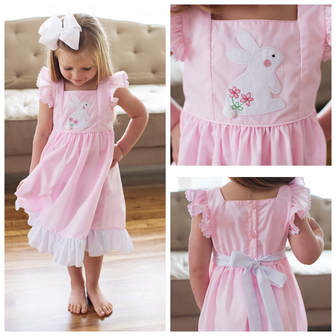 Girls Boutique Easter Clothing Pink Bunny Pinafore Dress