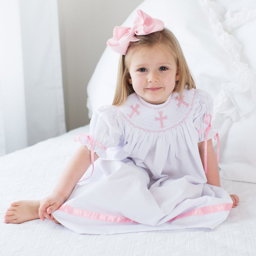 Smocked White Bishop Dress with Pink Cross Smocking