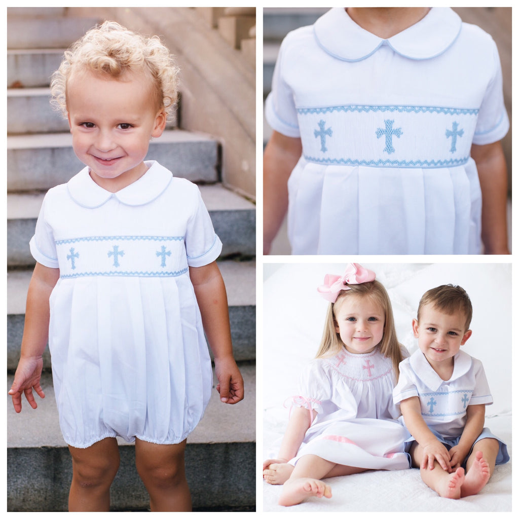 Boys Smocked Cross Easter Bubble Outfit