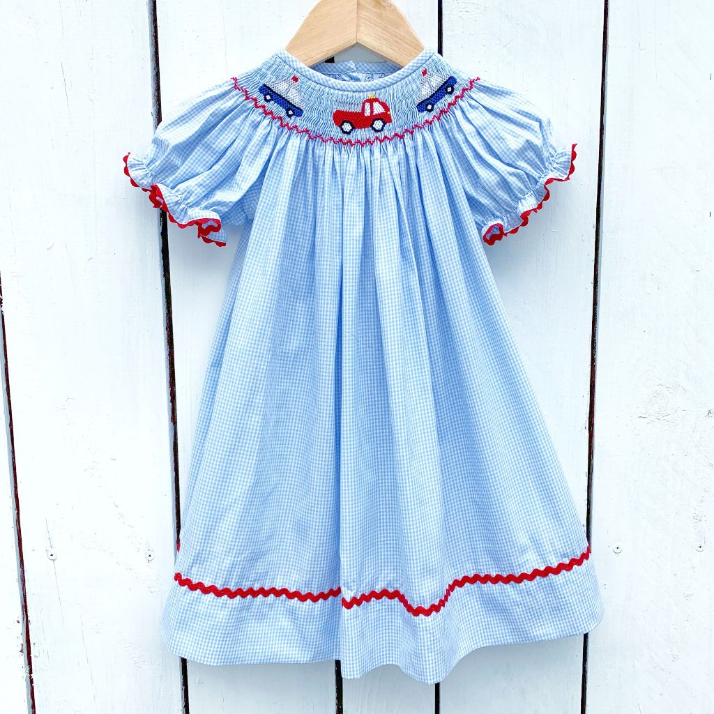 Smocked Police Car Bishop Dress