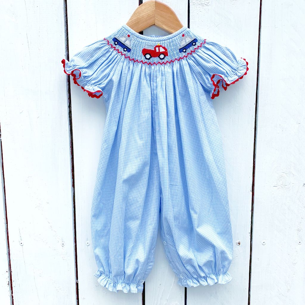Girls Smocked Police Car Bubble Romper Outfit