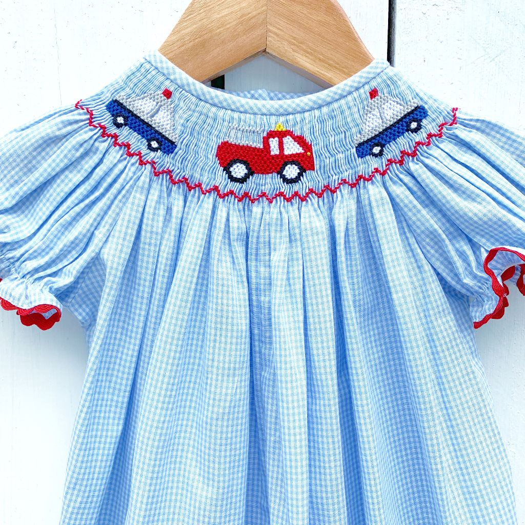 Smocked Fire Truck Bishop Dress