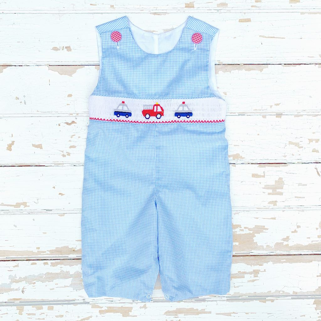 Boys Smocked Police Car Fire Truck Longall