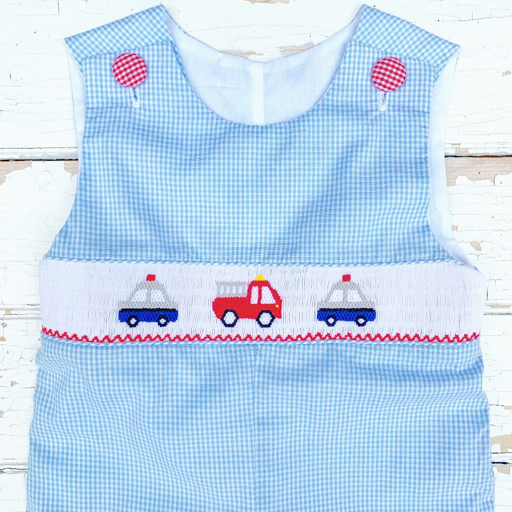 Boys Police Car Smocking Fire Truck Smocking Longall Outfit