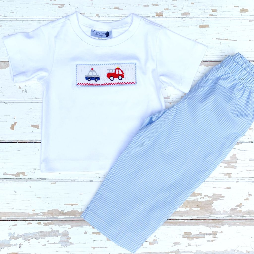 Boys Smocked Police Car Fire Truck Shirt and Pants Set