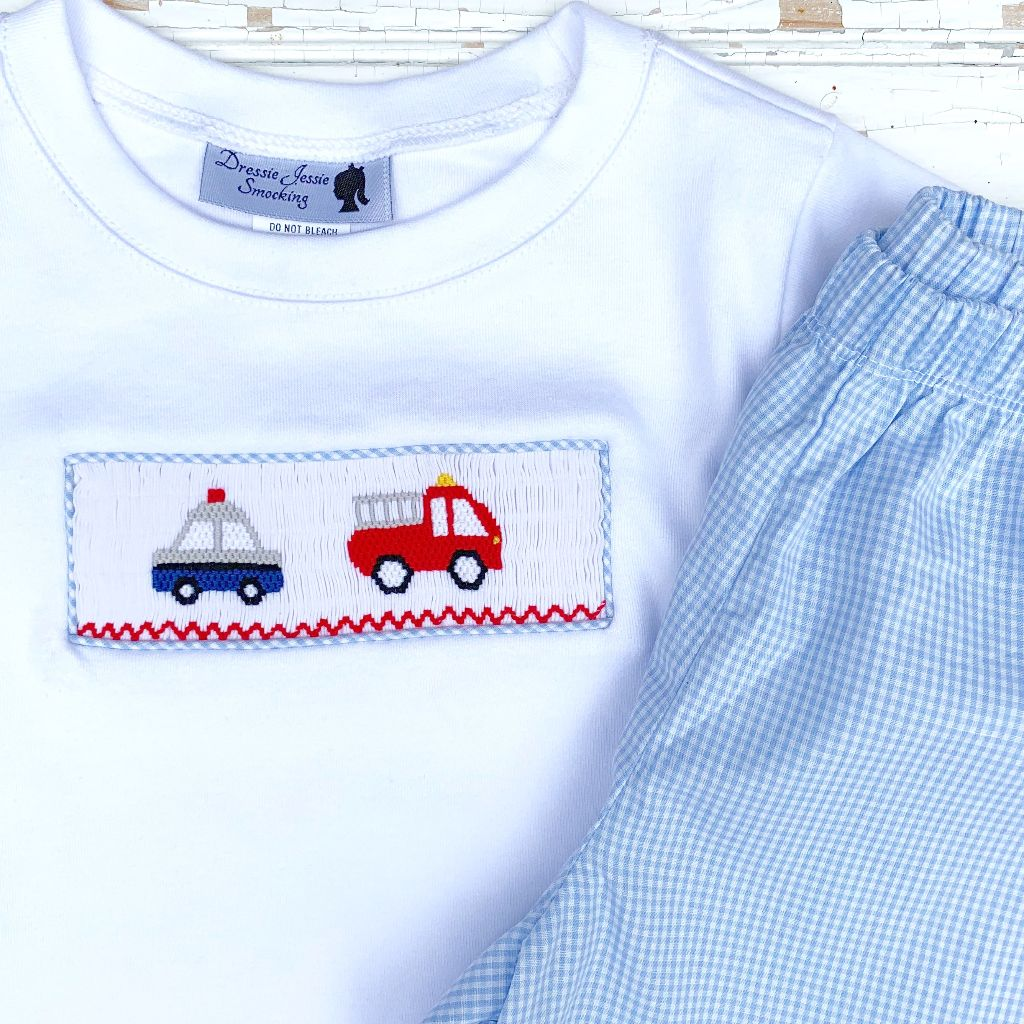 Smocked Police Car and Fire Truck Boys Set Outfit