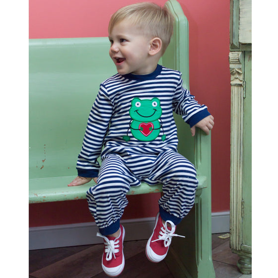 Baby Boy Valentine's Day Clothes Knit Romper Frog Heart Applique