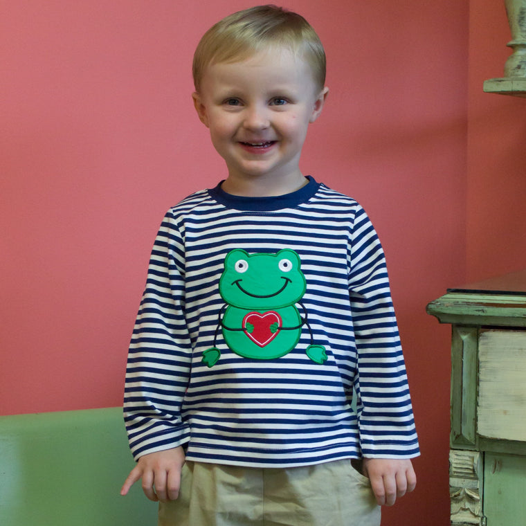 Boys Knit Valentine Applique Shirt Navy Stripe Green Frog Red Heart