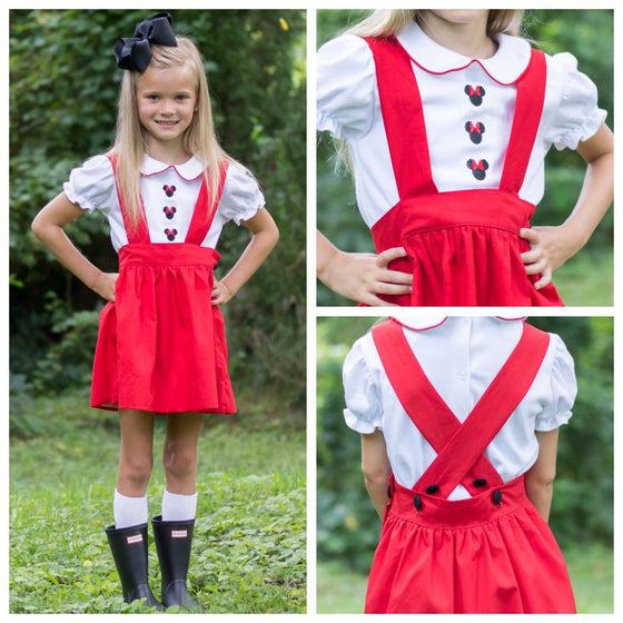 Girls Disney Minnie Mouse Suspender Skirt Outfit