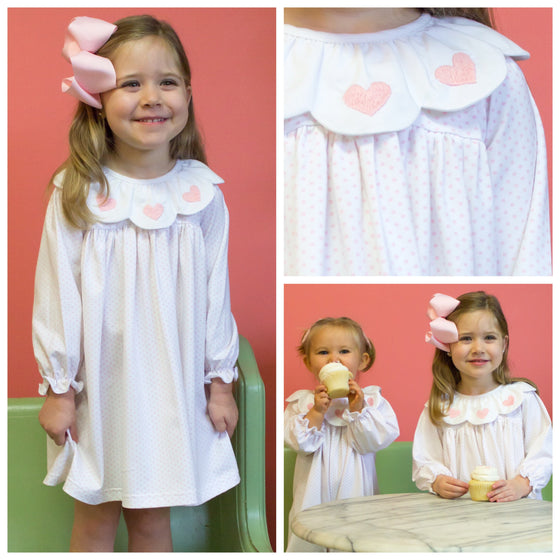 Girls Boutique Clothing Valentine's Day Dress Pink Embroidered Hearts