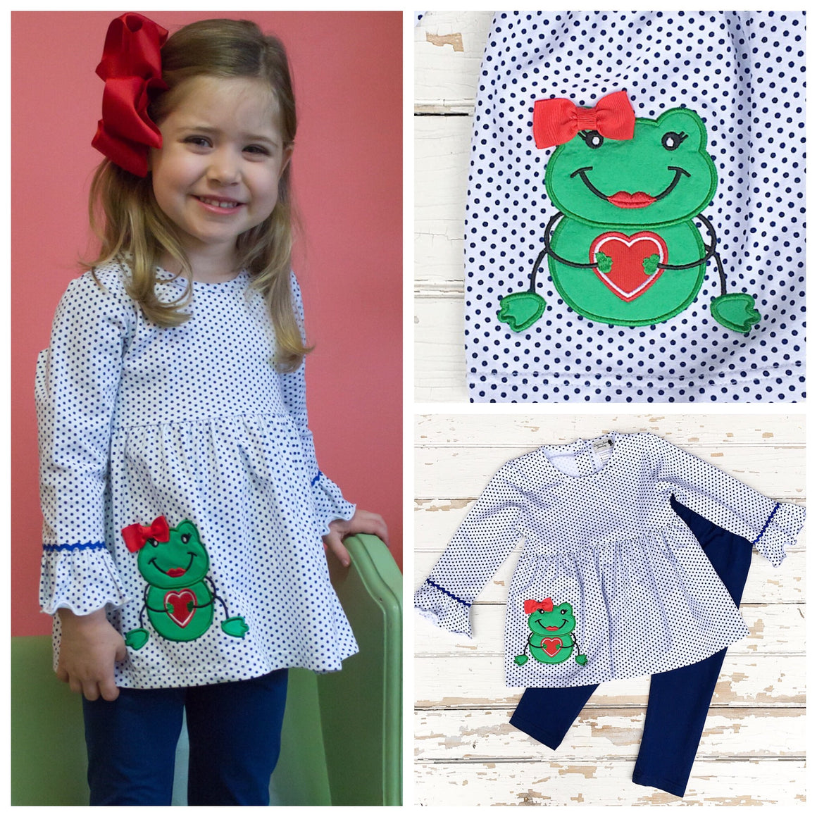 Knit Valentine Outfit Girls Clothing Frog Heart Applique