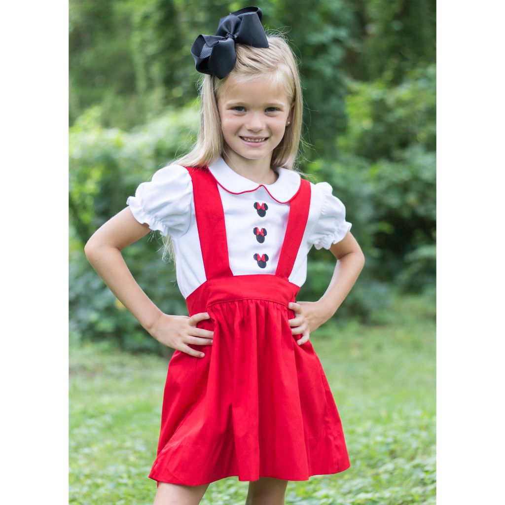 Girls Minnie Mouse Embroidery Skirt Shirt Dress Set