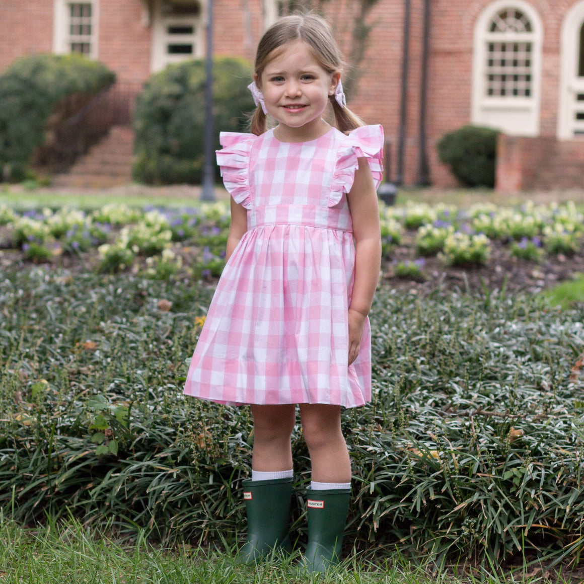 Pink Gingham Buffalo Check Pinafore Dress for Girls