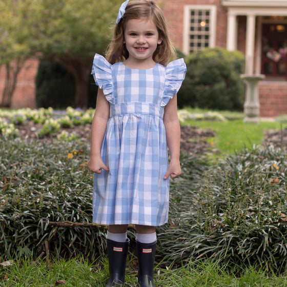 Girls Blue Gingham Buffalo Check Plaid Pinafore Easter Dress
