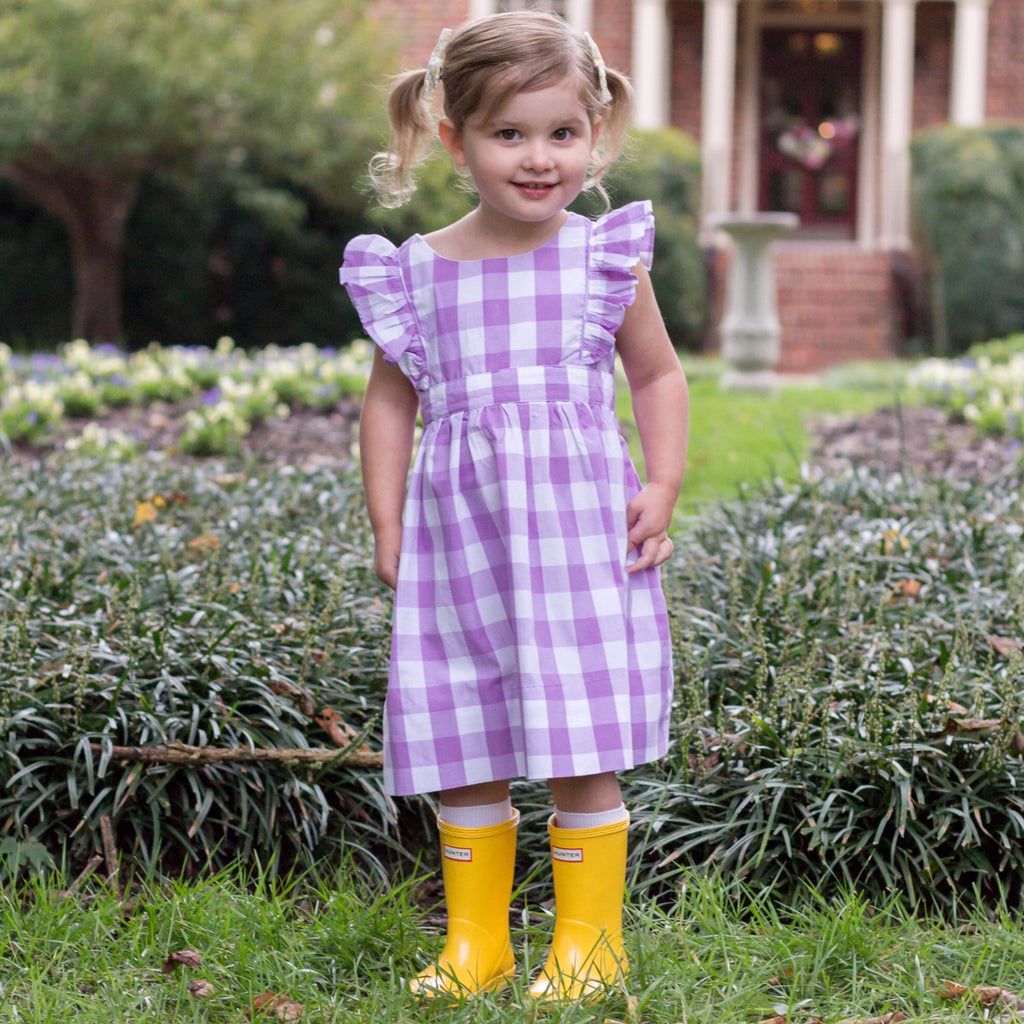 Girls Purple Gingham Pinafore Dress