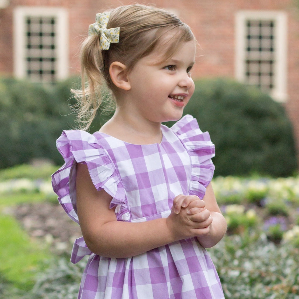 Purple White Buffalo Check Gingham Pinafore Dress Monogram