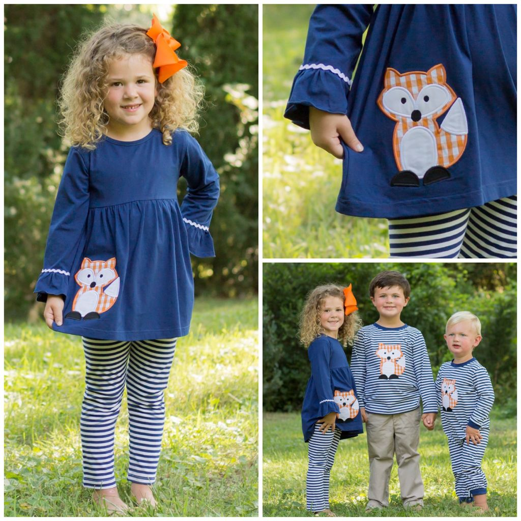 Girls Knit Ruffled Tunic and Legging Set Fox Applique Outfit