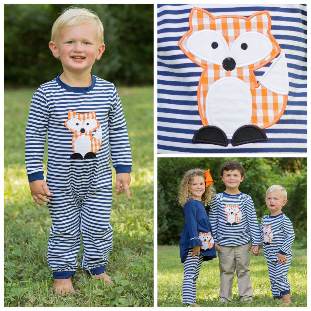 Infant Baby Toddler Boys Knit Romper Fox Applique