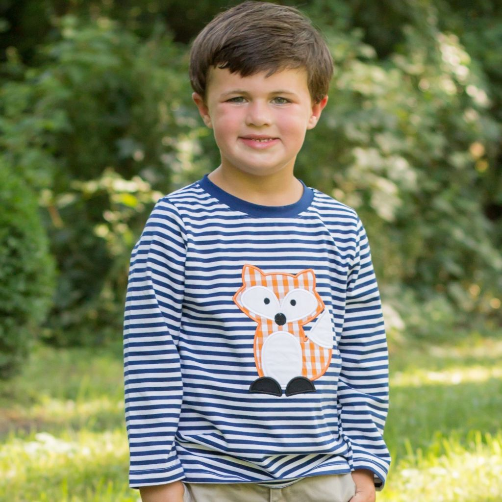 Boys Knit Stripe Shirt Fox Applique